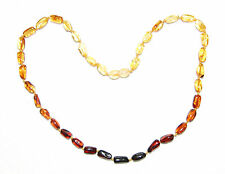 Genuine Baltic amber adult necklace, rainbow olive beads 45 cm /17.72 inch
