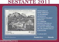 TESSERA FILATELICA ABBAZIA BENEDETTINA S. TRINITà CAVA DE' TIRRENI SA 2011 Q44