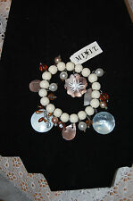 Mixit Beaded Dangle Bracelet-White Beads w/Shells & White/Coppertone-NEW w/Tags