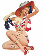 Retro American Flag Pinup Girl Waterslide Decal for Guitars & Much More S760