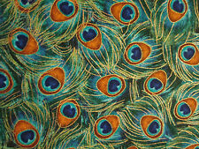 PEACOCK FEATHERS BLUE GREEN METALLIC GOLD FEATHERS COTTON FABRIC BTHY