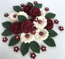 Burgundy/Ivory Rose Wedding Flower Bouquet Cake Decorations Edible Cake Toppers