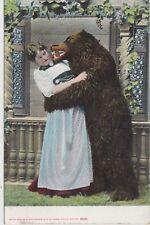 Künstler AK Märchen Bär küsst Frau 1910