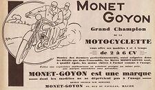 Y8044 MONET & GOYON Grand Champion de la Moto - Pubblicità d'epoca - 1929 Ad