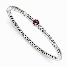 Sterling Silver 7in w/14k Gold 6mm Amethyst Bangle Bracelet
