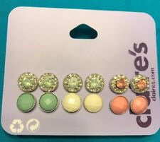 Six Pairs Of Claire's Green White Pink Round Rhinestone Encased Earrings New