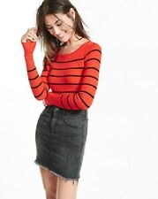 EXPRESS NWT RED AND BLACK STRIPED CREW NECK LONG SLEEVE SWEATER SMALL