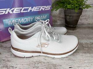 Skechers Flex Appeal 3.0 First Insight White Rose Gold Walking Size 8.5 W Wide