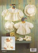 BABY crochet  pattern matinee  jacket  hat shoes dk / 4 ply  12/22 in prem  /2yr