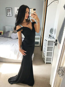 Sexy Black Cold Shoulder Bardot Sweetheart Dress Gown Long Maxi Evening Prom UK❤