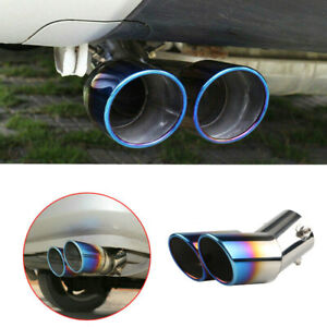 Stainless Steel Car Rear Dual Exhaust Pipe Tail Muffler Tip Throat Tailpipe USA