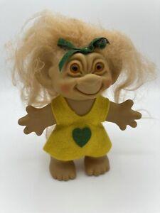 "Vintage Uneeda Wishnik 6"" Troll Yellow Felt Dress, Amber Eyes, 1960s"