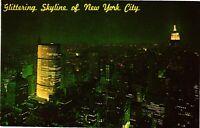 Vintage Postcard - Glittering Panorama City Skyline At Night New York NY #1691