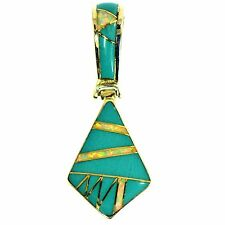 TURQUOISE & VIVID OPAL INLAY PENDANT STERLING SILVER SOUTHWESTERN 1.50 INCH LONG
