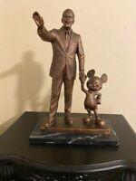 Rare!! Blaine Gibson Walt Disney & Mickey Mouse Cold Cast Bronze Partners Statue