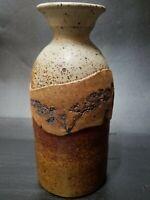 "STONE MOUNTAIN Studio Pottery Rustic 10"" Stoneware Vase Floral Imprint"