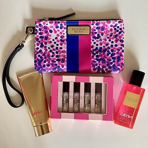 Victorias Secret Crush Fragrance Mist Lotion Perfumes Wristlet Clutch Pink Lot