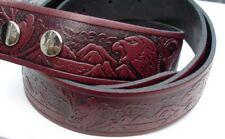 Burgundy embossed Eagle Snap On Leather Belt, X Large