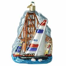 Old World Christmas 2013 Win the Cup Glass Ornament 46048 NEW SF Sailing Scene