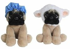 Set of 2 Doug the Pug Toys: Lamb Hat & Collar + Blue Shower Cap Plush NWT.