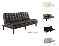 FOAM SOFA BED COUCH Convertible Foldable Futon Leather Pillow Top w/ Cup Holder