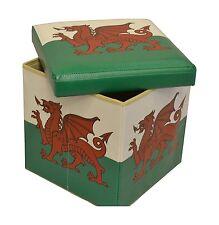 Galles Bandiera Ottomana Scatola cuscino del sedile poggiapiedi Gallese Drago Rosso