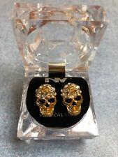 Gold tone Scull Rhinestone Earrings w/ plastic presentation box Surgical Steel