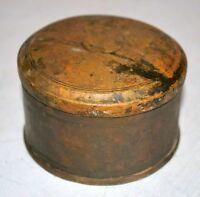 Box Round Brass 1850's Antique Hand Carved Storage Box
