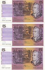 Australia 'Fraser  - Higgins' $5 (1990), Crisp Uncirculated Trio
