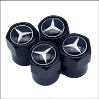 4 Ventilkappen Mercedes Benz, Performance, Schwarz, Autoreifen, Metall