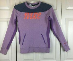 Nike Womens Dri-Fit Pullover Top Sweatshirt Zip Pockets Thumbholes Purple Size M