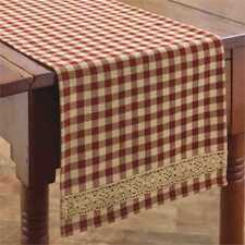 Country Crochet Gingham Table Runner 13X54 Farmhouse Red Tan Check size 1/2