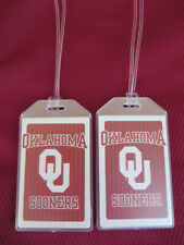 OKLAHOMA UNIVERSITY NCAA LUGGAGE TAGS 2-TAG SET - BOLD - BAG NAME TRIP ID
