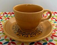 Vintage Fiestaware Casualstone Tea Cup and Saucer Ironstone Antique Gold