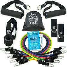 TRIBE PREMIUM Resistance Exercise Workout Bands Set Stackable Up To 105 lbs