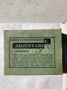 brass stencils vintage Reese's Interlocking adjustable in original boxes NR