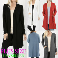 PLUS Sweater Open Front Long Duster Cardigan Side Packet Long Sleeve1X,2X,3X