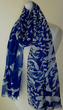 Blue White Bird Print Oversized Scarf Lightweight Shawl Wrap New