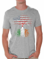 Irish Roots Shirt for Men Irish American Flag Shirts St. Patrick's Day Tshirts