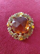 Citrine Coloured Brooch Vintage Gold Tone