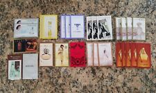 AVON LOT OF 28 ASSORTED SAMPLE CARDS, GODDESS, RARE PEARLS, TRUE GLOW + MORE.