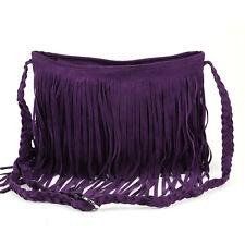 Vintage Purple Fringe Tassel Faux Suede Satchel Shoulder Bag Messenger Crossbody