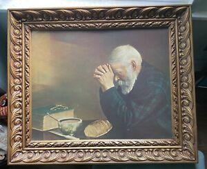 Grace Eric Enstrom Vintage Art Print Man Praying Ornate Plastic Frame Large