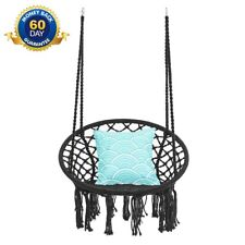 Hanging Chair Swing Macrame Hammock Knitted Cotton Rope for Patio Deck Backyard