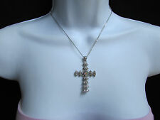 Women Silver Trendy Fashion Necklace Big Cross Pendant Rhinestones Jesus Christ