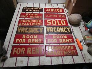 12Vintage 40's FOR RENT Apartment House Hunting Fishing Cabin Gas Oil Metal Sign