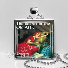 Vintage Nancy Drew Book Secret In The Old Attic Glass Necklace with Chain
