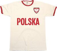 Mens POLAND Football T-Shirt WORLD CUP 2018 Russia Country name Retro POLSKA