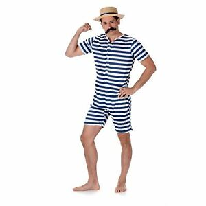 Mens Old Time Bathing Suit Victorian 1920s Fancy Dress Costume