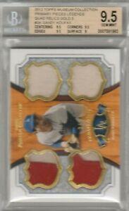 Sandy Koufax 2012 Topps Museum Legends Gold Quad Jersey Patch #/5 BGS 9.5 POP 1